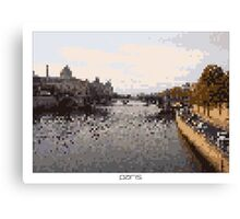 Pixel Art Cities: Paris. Seine Canvas Print