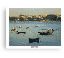 Pixel Art Cities: Porto. Boats Canvas Print