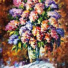 Blue And Red Flowers — Buy Now Link - www.etsy.com/listing/223892670 by Leonid  Afremov