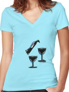 Wine bottle and glasses Women's Fitted V-Neck T-Shirt