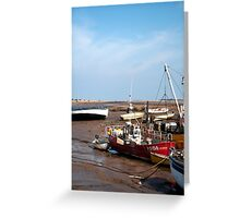 Lobster boat, waiting for the tide.  Greeting Card