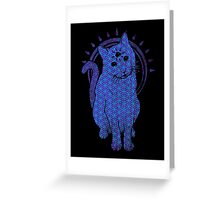 Trippy Cat: Blue Flower of life Edition Greeting Card