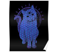 Trippy Cat: Blue Flower of life Edition Poster
