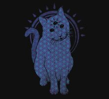 Trippy Cat: Blue Flower of life Edition Baby Tee