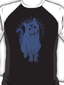 Trippy Cat: Blue Flower of life Edition T-Shirt