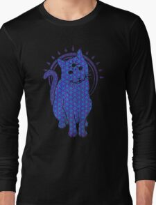 Trippy Cat: Blue Flower of life Edition Long Sleeve T-Shirt