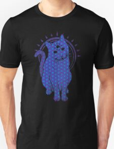 Trippy Cat: Blue Flower of life Edition Unisex T-Shirt