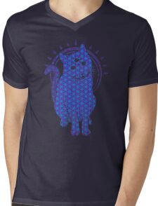 Trippy Cat: Blue Flower of life Edition Mens V-Neck T-Shirt
