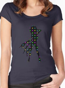 Disco Dancer Silhouette with Afro Hairstyle and Colorful Records. Women's Fitted Scoop T-Shirt