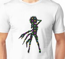 Disco Dancer Silhouette with Afro Hairstyle and Colorful Records. Unisex T-Shirt