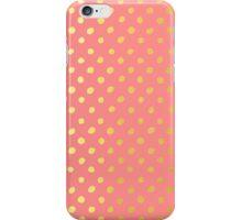 RUSTIC CONFETTI polka dot pattern gold foil effect coral iPhone Case/Skin