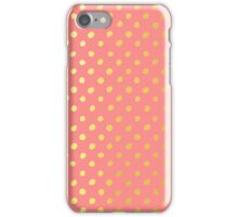RUSTIC CONFETTI polka dot pattern gold foil effect coral iPhone Case/Skin