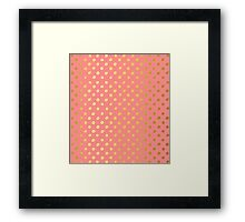RUSTIC CONFETTI polka dot pattern gold foil effect coral Framed Print
