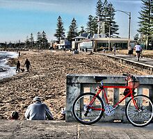 Red bike at Elwood Beach by JHP Unique and Beautiful Images