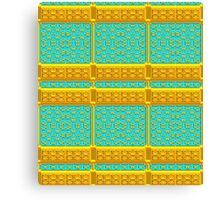 Gold and Turquoise Metallic Baroque Pattern, Original Design. Canvas Print