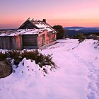 Winter Sunrise over Craig's Hut, Mt Stirling, Australia by Michael Boniwell