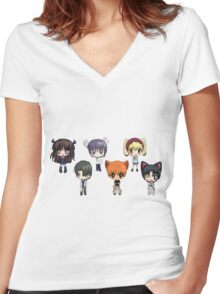 Fruits Basket Chibi Anime Women's Fitted V-Neck T-Shirt