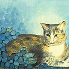 """TIGERLILLY"" CAT WITH BLUE HYDRANGEAS  by RubaiDesign"