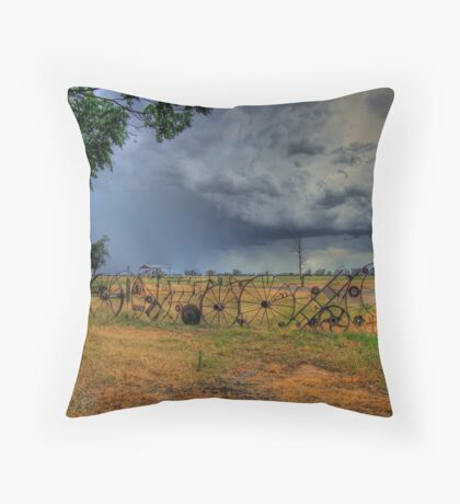 Rustic Rural Fence 001 Throw Pillow