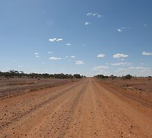 Contrast of road out west, Winton. Qld. Australia by Marilyn Baldey