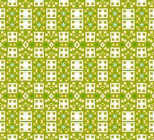 Green, Gold and White Abstract Design Pattern by Mercury McCutcheon