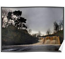 Cottages and waterfall near Wainwath falls Poster