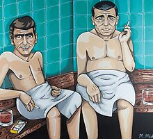 Rod Serling and Jack Webb in the Sauna by Jollydream