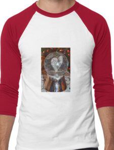 Heart Snow Globe Men's Baseball ¾ T-Shirt