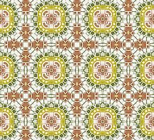 Brown, Green and Gold Abstract Design Pattern by Mercury McCutcheon