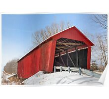 Edna Collings Covered Bridge and Snow Poster