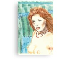 """UNDINE"" - SENSUAL MERMAID IN TRADICIONAL BALTIC BEACH CHAIR - Color-Pencil and Pastel-Design Canvas Print"