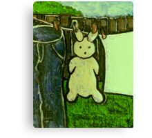 Rabbit on a washing line Canvas Print