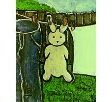 Rabbit on a washing line Photographic Print