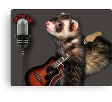 LITTLE FERRET WITH GUITAR ON THE AIR COMING TO LIVE ON R.B.SING LITTLE FERRET SING.. PICTURE AND OR CARD ECT. Canvas Print