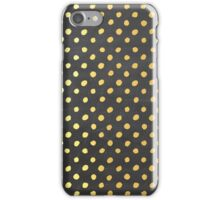 RUSTIC CONFETTI polka dot pattern gold foil effect gray chalkboard iPhone Case/Skin