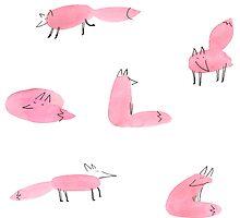 Watercolor fox family by shizayats