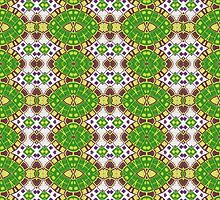 Green, Purple and Gold Abstract Design Pattern by Mercury McCutcheon