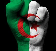 Flag of Algeria on a Raised Clenched Fist  by Jeff Bartels