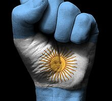 Flag of Argentina on a Raised Clenched Fist  by Jeff Bartels