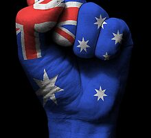Flag of Australia on a Raised Clenched Fist  by Jeff Bartels