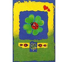 FOUR-LEAFED CLOVER WITH LADY BUGS - FOR GOOD LUCK  Photographic Print