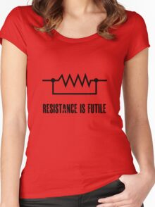 Resistance is futile - black foreground Women's Fitted Scoop T-Shirt