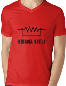 Resistance is futile - black foreground Mens V-Neck T-Shirt