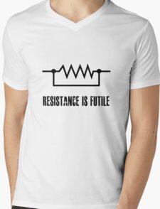 Resistance is futile - black foreground Mens V-Neck T-Shirt