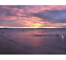 Ice Fishing Under A Sunset Photographic Print