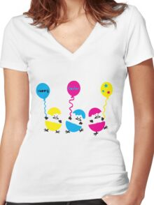 Happy Easter eggs Women's Fitted V-Neck T-Shirt
