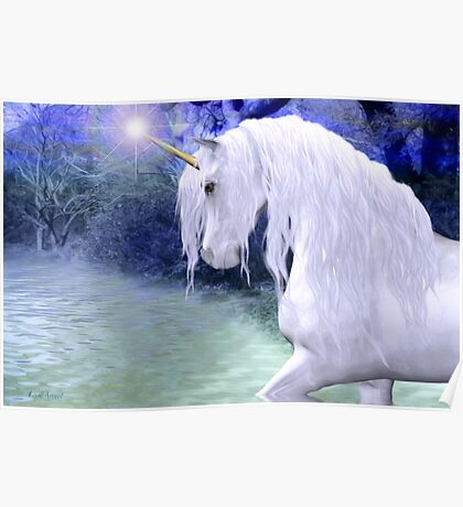 Star .. a white unicorn Poster