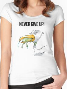 NEVER GIVE UP Women's Fitted Scoop T-Shirt