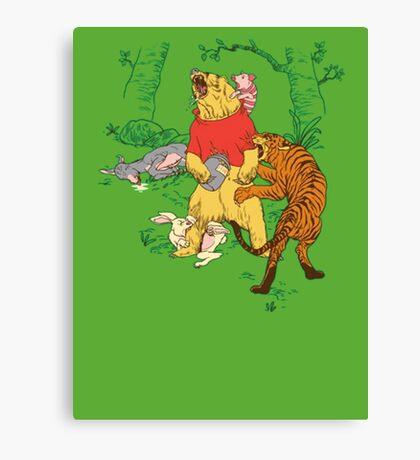 Winnie the Pooh bear gone crazy Canvas Print