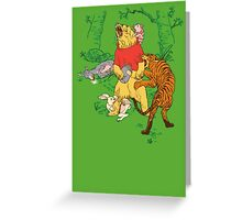 Winnie the Pooh bear gone crazy Greeting Card
